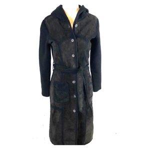 June Black Leather Patch Boho Hooded Duster Jacket